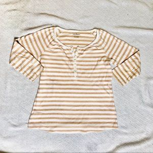 🍊L.L Bean Striped Henley 3/4 Sleeve Shirt